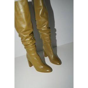 Zara High Leg Leather Heeled Boots Khaki 9 40